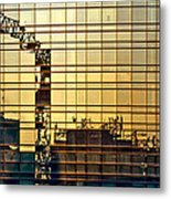 Reflected Cranes At Sunset Metal Print