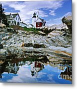 Reflected Lighthouse At Pemaquid Point Metal Print