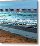 Reflected Sunlight At Pier's End Metal Print