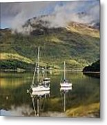 Reflected Yachts In Loch Leven Metal Print