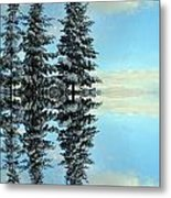 Reflecting Evergreens In Winter Metal Print