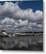 Reflecting On Boats And Clouds - Port Perry Marina Metal Print