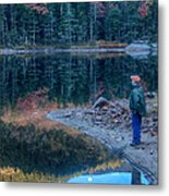 Reflecting On Fall Foliage Reflection Metal Print