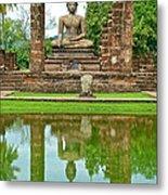 Reflecting Pool At Wat Mahathat In 13th Century Sukhothai Historical Park-thailand Metal Print