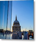 Reflecting St Pauls Metal Print by Andrew Lalchan