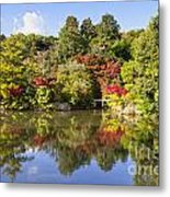 Reflection In Kyoyochi Pond In Autumn Ryoan-ji Kyoto Metal Print