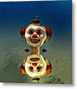 Reflection Of A Clown Metal Print