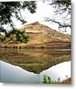 Reflection Of Butte Across From Lepage Rv Park Into Columbia River-oregon Metal Print