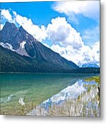 Reflection Of Glaciers And Clouds In Emerald Lake In Yoho National Park-british Columbia-canada Metal Print