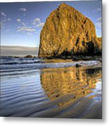 Reflection Of Haystack Rock At Cannon Beach 2 Metal Print
