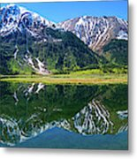 Reflection Of Mountains In Tern Lake Metal Print