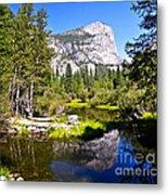 Reflection Of Mt Watkins In Mirror Lake Located In Yosemite National Park Metal Print
