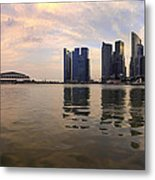 Reflection Of Singapore Skyline Panorama Metal Print
