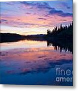 Reflection Of Sunset Sky On Calm Surface Of Pond Metal Print