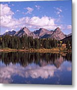 Reflection Of Trees And Clouds Metal Print