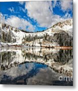 Reflection Off Of The Early Winter Water Metal Print