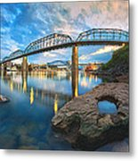 Reflection Rock At Low Water Metal Print by Steven Llorca