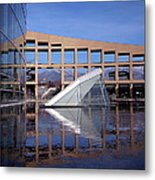 Reflections At The Library Metal Print