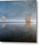 Reflections In A Lake In Winter, French Metal Print