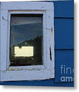 Reflections In A Shed Window - Curiosity - Fishing Metal Print