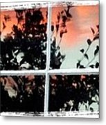 Reflections In An Old Window Metal Print