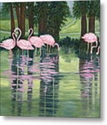 Reflections In Pink Metal Print