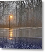 Reflections Of A Lamp On The Edge Of A Foggy Forest Metal Print