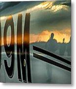 Reflections Of A Sunset Flight Metal Print