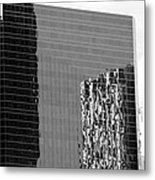 Reflections Of Architecture In Black And White Metal Print