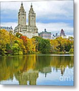 Reflections Of Autumn Central Park Lake  Metal Print