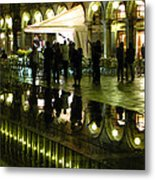 Reflections Of Saint Mark's Square-night Metal Print