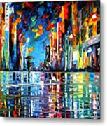 Reflections Of The Blue Rain - Palette Knife Oil Painting On Canvas By Leonid Afremov Metal Print