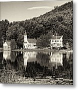 Reflections Of The Day Black And White Metal Print