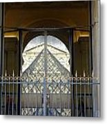 Reflections Of The Musee Du Louvre In Paris France Metal Print