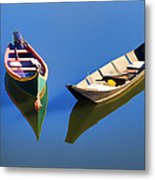 Reflections Of Two Canoes Metal Print