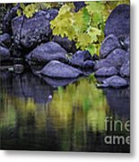 Reflections Of Yellow And Green Metal Print