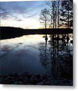 Reflections On Lake At Sunset Metal Print