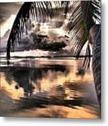 Reflections Through The Palm Metal Print