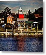 Reflections..two Rivers Pierhead Lighthouse Metal Print
