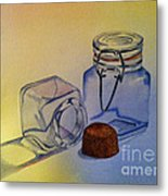 Reflective Still Life Jars Metal Print by Brenda Brown