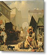 Refreshment Stall In St. Petersburg, 1858 Oil On Canvas Metal Print