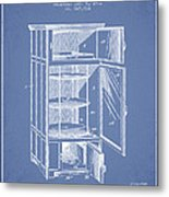 Refrigerator Patent From 1901 - Light Blue Metal Print