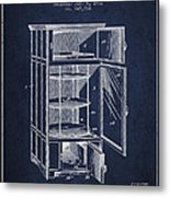 Refrigerator Patent From 1901 - Navy Blue Metal Print