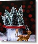 Reindeer With Christmas Trees Metal Print