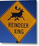 Reindeer Xing Metal Print