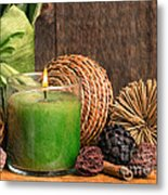 Relaxing Spa Candle Metal Print