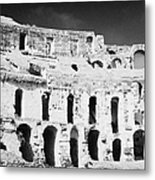 Remains Of Upper Tiers Looking Up From The Arena Floor Of The Old Roman Colloseum At El Jem Tunisia Metal Print