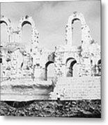 Remains Of Upper Tiers Of The Old Roman Colloseum At El Jem Tunisia Metal Print