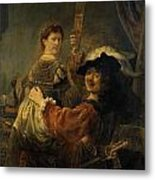 Rembrandt And Saskia In The Parable Of The Prodigal Son Metal Print