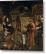 Rembrandt In His Studio Metal Print